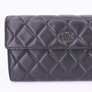 Chanel CC Calfskin Quilted Long Flap Wallet